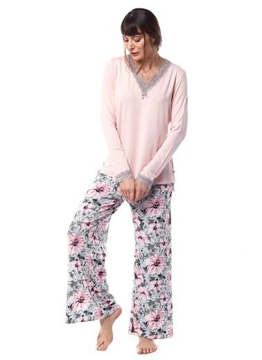 Pamuk & Pamuk Kadın Büyük Çiçek Desenli Dantelli Pijama Takımı Pembe
